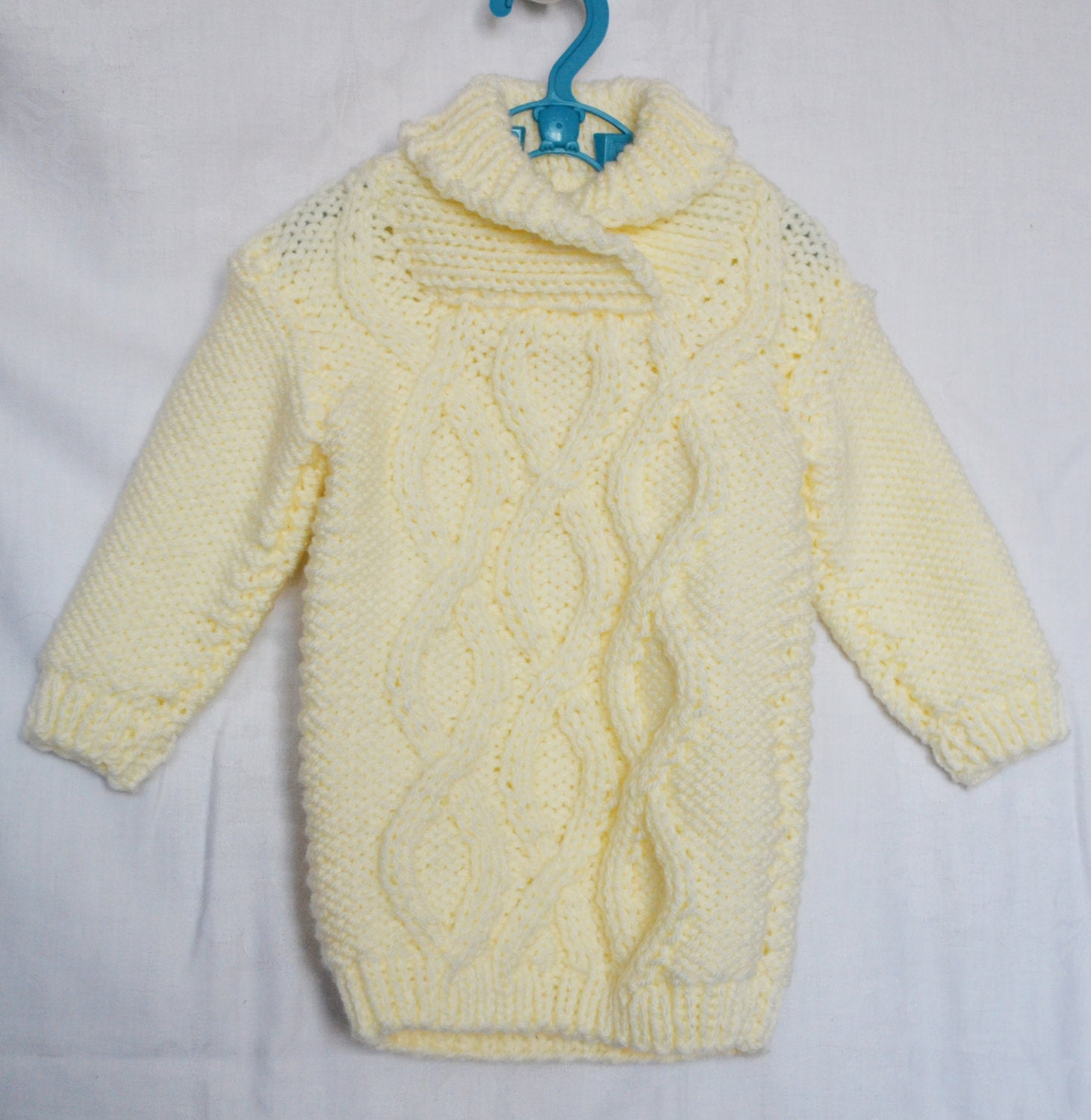 Knitting Pattern Baby Sweater Chunky Yarn : Hand Knitted Baby Cable Sweater Dress Ivory Baby Chunky Yarn