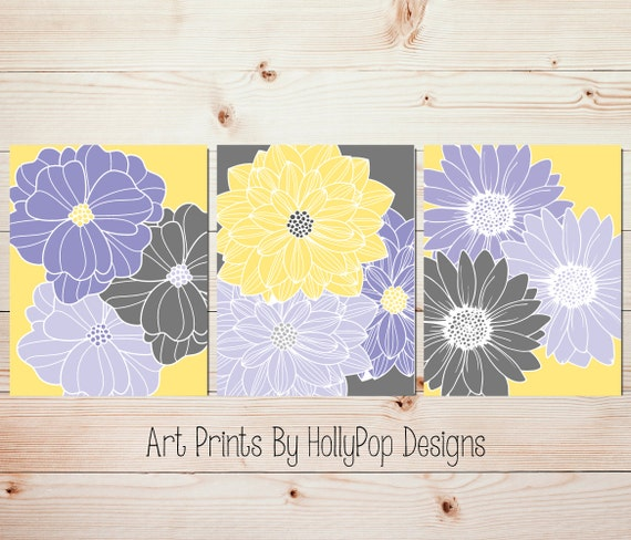 Bedroom wall decor bathroom wall art bedroom flower wall art for Purple and yellow bathroom ideas