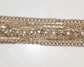 "Signed Art 11 Gold Tone Multiple Layered Chains 7.5"" Bracelet"