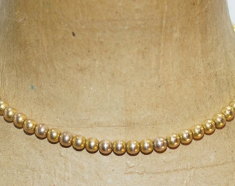 "Signed Fif & Co. Victorian Gold Fill 7mm Bead 15"" Choker Necklace"