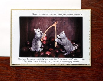 Witty Thanksgiving Card: Miniature Raccoons and Wishbone