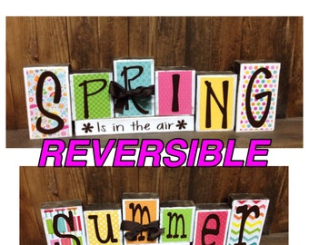 REVERSIBLE Spring & Summer wood blocks--Spring is in the air reverses with Summer Time