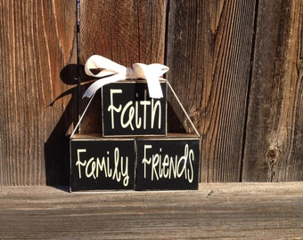 Inspirational blocks--Faith Family Friends wood blocks