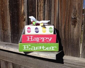 Happy Easter MINI wood stacker blocks--colored eggs