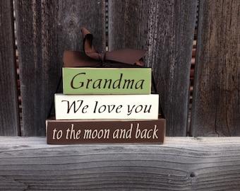 Grandma/mothers day mini wood stacker blocks-Grandma we love you to the moon and back