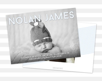 Baby Boy Birth Announcement - Boy Baby Announcement - Custom - Double Sided Photo Card - Nolan