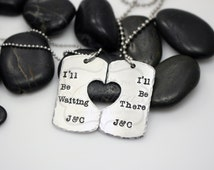 "Hand-Stamped Military Support Deployment ""I'll Be Waiting / I'll Be There"" Long Distance Love Necklace Set"