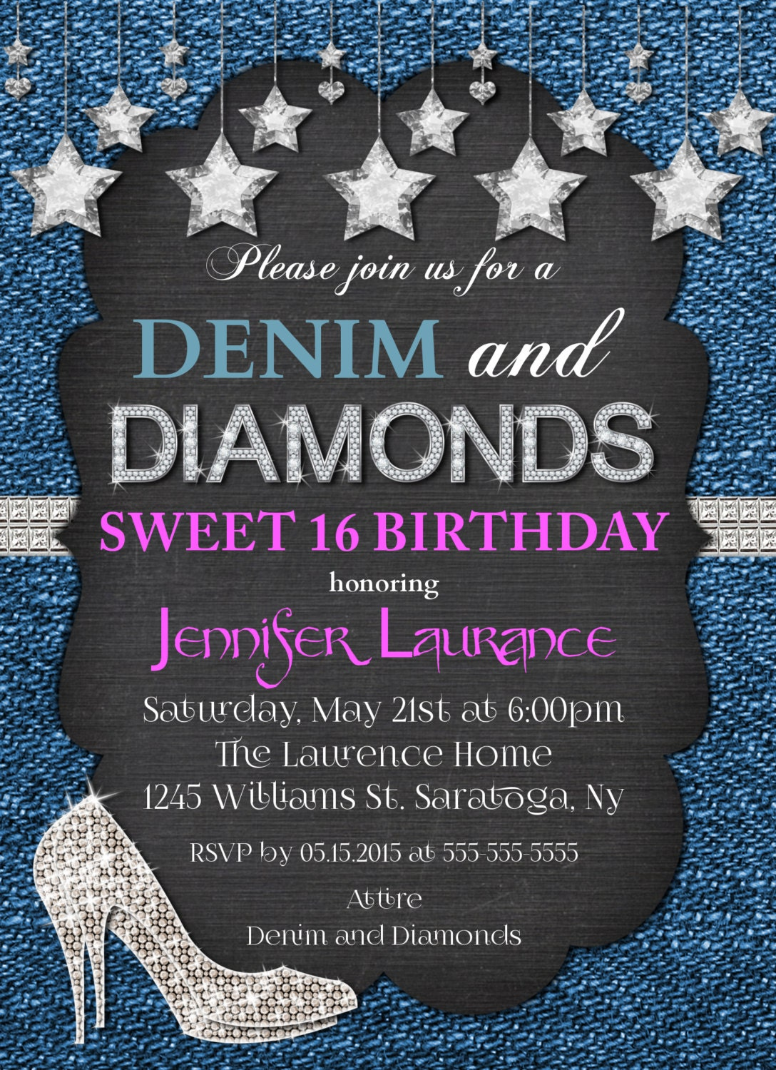 denim  u0026 diamonds hot pink invitation  sweet 16 21st 30th 40th