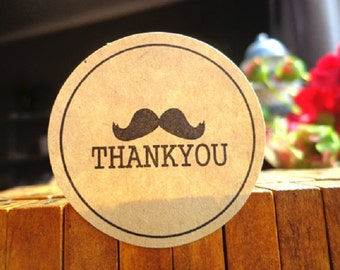 Moustache Sticker Thank You Circle Seal Label / Wedding & Party Decoration