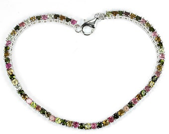 4.64ctw 58 pc Multi Color Tourmaline Sterling Silver Bracelet 7.75 inch