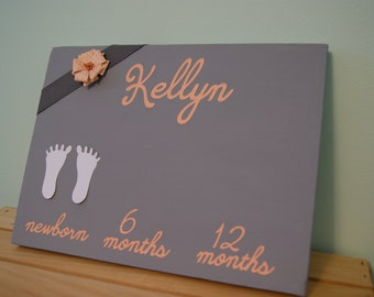 Baby footprints canvas. Personalized. Customized to decor. DIY.