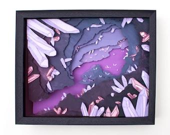 Original Framed Cut Paper Illustration of Crystal Caverns