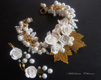 bracelet and earrings bracelet with white roses, wedding jewelry, handmade necklace, bracelet made of polymer clay