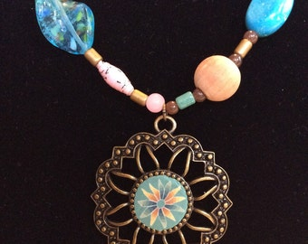 Turquoise and pale pink necklace
