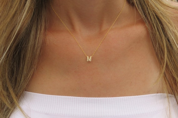 Tiny Gold Initial Necklace Gold Letter Necklace By