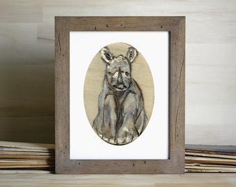 Baby Rhino Art Print, Rhino Painting, Animal Wall art