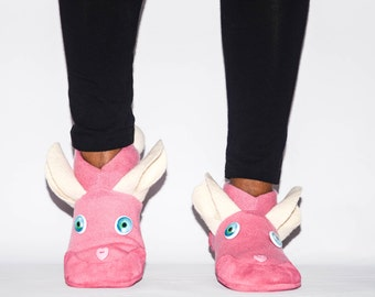 Women Bunny Slippers, Easter Bunny Cashmere Shoes, Pink Bunny Slippers:  Custom Order
