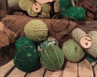 Saint Patrick's day 6 fabric primitive rag balls green shamrocks st paddys day fun