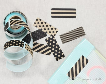 Kraft and Black Rectangle Stickers - Midori Sticker Roll