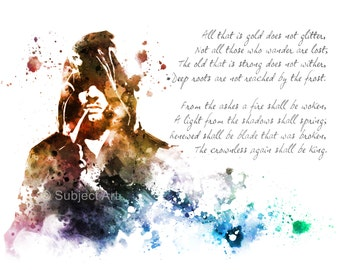 The Riddle of Strider, Lord of the Rings ART PRINT illustration, Colour Edition, Aragorn, Home Decor, Wall Art, Fantasy, Poem