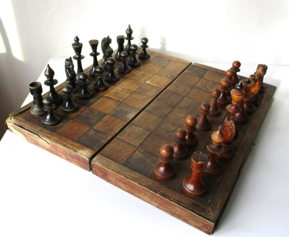 Wooden Chess Table ~ Wooden chess set large antique complete board