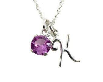Birthstone and initial charm necklace