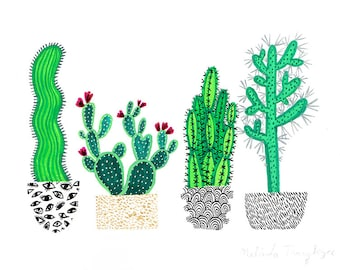Four Cacti Original Painting