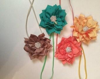 2 toned simple flower headbands - child headband - skinny elastic band - flower headband - rhinestone headband - photo prop - gift under 5