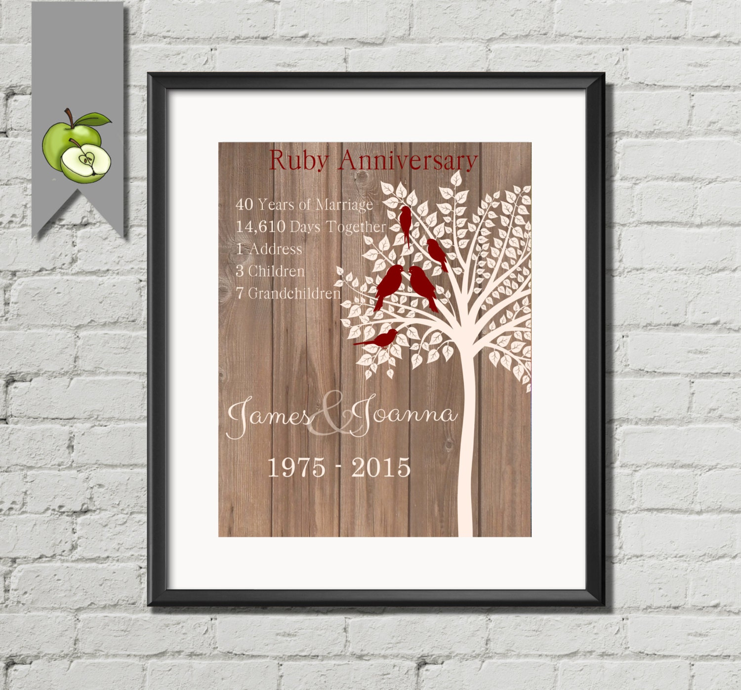 Ruby Wedding Anniversary Gift For Parents Uk : Ruby Wedding Anniversary Gift Personalised family tree