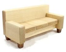 Miniature Sofa or Couch - Wood Dollhouse Furniture Looks Like Leather Sofa