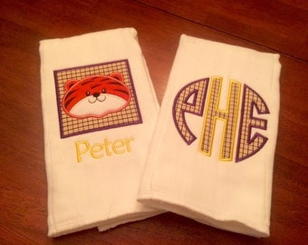 LSU theme burp cloths