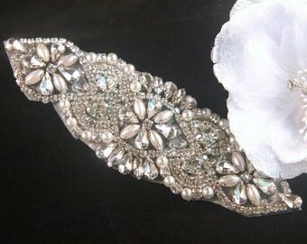 Authentic Rhinestone Applique ~ Crystal Applique ~ Bridal Applique, Wedding Applique, Sash Applique, Headband Jewelry, DIY Wedding, RA-001