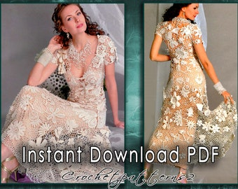 Instant Download PDF ebook - crochet patterns, knitting patterns. Women's crochet blouses, cardigan, dresses, irish lace, tunics. JM555