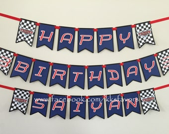 Race Car Banner / Racing Party Banner / Cars Birthday Banner / Cars Party Banner / Lightning McQueen Banenr / Cars Birthday Banner