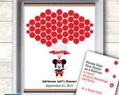 Girl Minnie Mouse Guest Book Printable Alternative and Girl Wall Art for Baby Mouse Shower DIY Red black Polka - 12g