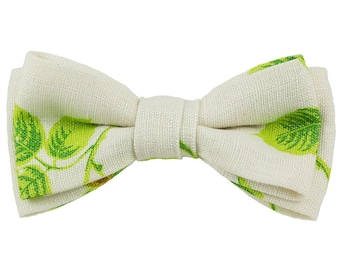 Clip Bow Tie Natural Colored Fine Linen Printed with Green Leaves from Vintage Fabric Wedding tie Dress tie