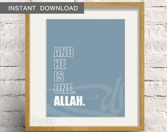 "Instant Download! Modern Islamic Allah Typography Design. Wall Art Print 8x10"" Custom Color DIY"