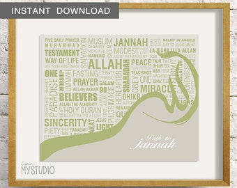 "Instant Download. Path to Jannah, Islamic Wall Art Print. 8x10"". Printable DIY Digital Design"