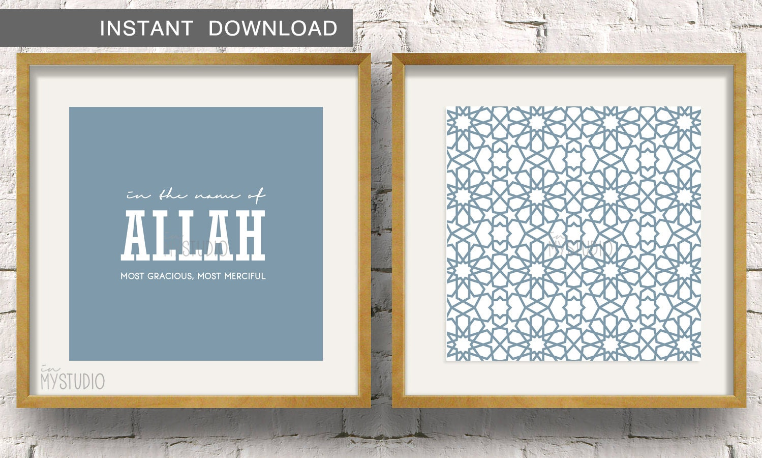 in the name of allah paired with a moroccan zillij pattern set of 2 islamic wall art print 5x5 to fit ikea ribba frame