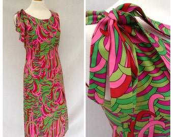 1960's psychedelic,maxi dress , gogo, pink , green,women vintage dress size 8-10