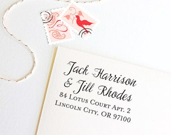 Return address stamp for couples with different last names, self inking, script, rubber stamp wood handle
