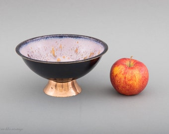 Vintage Enamel Bowl, Black and Pink Enamel Bowl, German Vintage, Mid Century Modern Bowl, Modernist Bowl, GDR Emaille Bowl