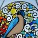 Stained Glass Panel, Large Round Bird Suncatcher, Home Decor, Garden Decor, 'Tree Swallow'