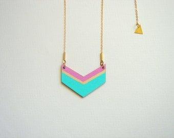 Aqua Chevron Necklace, Wood Geometric Necklace,Wood  Necklace,Geometric Jewelry