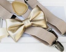 Light metallic gold bow-tie & tan elastic suspender set - Gold bow tie and tan suspenders - Faux Leather bow tie