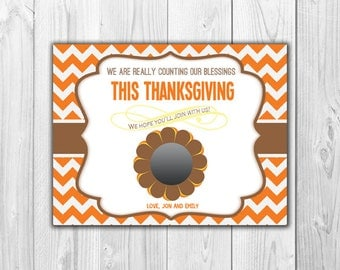 Thanksgiving Pregnancy Announcement | Scratch Off Card (4 Cards and 4 Envelopes)