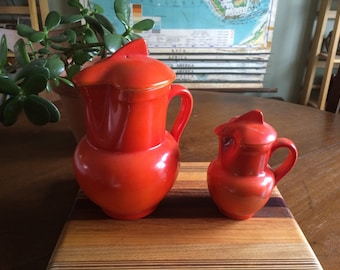 Vintage Orange Erphila Art Pottery Pitcher Set - 9in and 4in