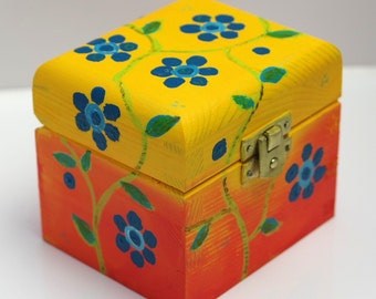 Hand Painted Yellow and Orange Jewellery Box with Turquoise Flowers and Green Leaves, Orange Stylish Tea Box, Floral Art Decorative Box