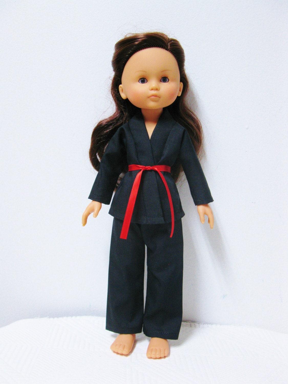 corolle les cheries doll clothes handmade karate black uniform. Black Bedroom Furniture Sets. Home Design Ideas