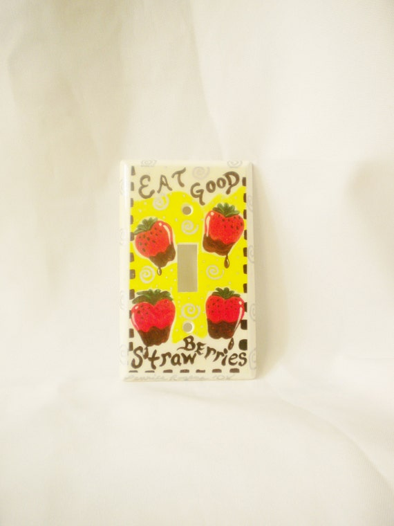 Strawberry themed light switch cover dipped in by simplygail - Strawberry themed kitchen decor ...